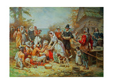 The First Thanksgiving Giclée-tryk af Jean Leon Gerome Ferris
