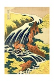 The Waterfall Where Yoshitsune Washed His Horse', No.4 in the Series 'A Journey to the Waterfalls… Impressão giclée por Katsushika Hokusai