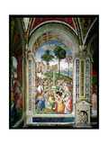 Aeneas Sylvius Piccolomini (1405-64) Presents Eleonora of Aragon to Frederick III (1415-93) on… Giclée-tryk af Bernardino di Betto Pinturicchio