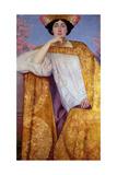 Portrait of a Woman in a Golden Dress, Painted in Collaboration with Ernst Klimt (1864-92) Franz… Giclée-Druck von Gustav Klimt