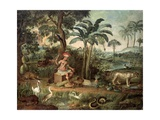 Native Indian in a Landscape with Animals Giclee Print by Jose Teofilo de Jesus