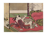 A 'Shunga', from a Series of Twenty Four Erotic Prints: Lovers, a Man and a Boy, 1725-70 Giclee Print by Suzuki Harunobu