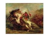 Collision of Moorish Horsemen, 1843-44 Reproduction procédé giclée par Eugene Delacroix
