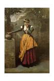 Dreamer at the Fountain, C.1860 Reproduction procédé giclée par Jean-Baptiste-Camille Corot