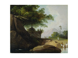 Indian Landscape with Temple, C.1815 Giclee Print by George Chinnery