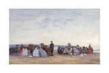 Beach Scene Near Trouville, C.1863-66 Giclee Print by Eugène Boudin