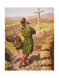 Christian Loses His Burden at the Cross, Illustration from 'The Pilgrim's Progress' by John… Lámina giclée