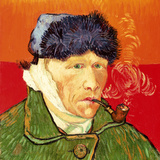 Self Portrait with Bandaged Ear and Pipe, 1889 Giclee Print by Vincent van Gogh