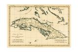 Cuba, from 'Atlas De Toutes Les Parties Connues Du Globe Terrestre' by Guillaume Raynal (1713-96)… Impressão giclée por Charles Marie Rigobert Bonne