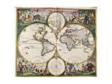 World Map (Nova Orbis Tabula) from 'Nicolass Visscher Atlas Minor' C.1719 Reproduction procédé giclée par Frederick de Wit