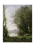 The Goatherd Beside the Water Giclee Print by Jean-Baptiste-Camille Corot