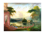 A Romantic Landscape with the Arrival of the Queen of Sheba, C.1830 Giclée-tryk af Samuel Colman