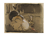 Two Rabbits, One Eating Carrots Reproduction procédé giclée par Joseph Crawhall