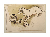 Fox Terrier and Puppies Reproduction procédé giclée par Joseph Crawhall