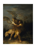 Jacob Wrestling with the Angel Giclee Print by Salvator Rosa