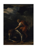 David and Goliath Giclee Print by Salvator Rosa