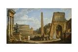 A Capriccio View of Roman Ruins, 1737 Giclee Print by Giovanni Paolo Pannini