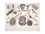 Indian Utensils and Arms, Engraved by Du Casse, Published in 1841 Stampa giclée di Karl Bodmer