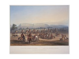 Encampment of the Piekann Indians, Engraved by Beyer and Hurliman, Published in 1839 Stampa giclée di Karl Bodmer