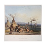 Funeral Scaffold of a Sioux Chief Near Fort Pierre, Engraved by J. Hurliman, Published in 1839 Stampa giclée di Karl Bodmer