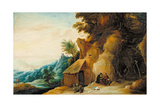 Saints Anthony and Paul in a Landscape, C.1636-38 Giclée-Druck von David Teniers the Younger