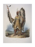 Mato-Tope, a Mandan Chief, Engraved by J. Hurliman, Published in 1839 Stampa giclée di Karl Bodmer