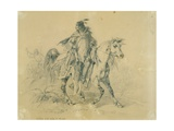 Blackfeet Warrior on Horseback, C.1833-43 Stampa giclée di Karl Bodmer
