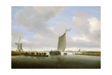 An Estuary Scene with Cattle Aboard a Ferry and a Windmill Beyond Giclee Print by Salomon van Ruisdael or Ruysdael