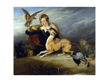 Richard Cavendish with 'spot', the 6th Duke of Devonshire's Italian Greyhound, C.1828 Giclée-tryk af Edwin Henry Landseer
