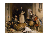 Scene in the Olden Time at Bolton Abbey, C.1834 Giclée-tryk af Edwin Henry Landseer
