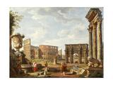 A Capriccio View of Rome, 1743 Reproduction procédé giclée par Giovanni Paolo Pannini
