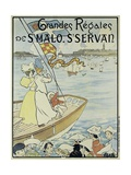 Poster Promoting the St. Malo and St. Servan Regatta, C.1895 Reproduction procédé giclée par M.E. Renault