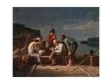 In a Quandary, or Mississippi Raftsmen at Cards, 1851 Gicléedruk van George Caleb Bingham