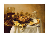 A Still Life with a Roemer, a Crab and a Peeled Lemon on a Pewter Plate, a Bunch of Grapes, a… Lámina giclée por Pieter Claesz