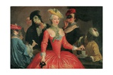 Elegant Company in Masque Costume Taking Coffee and Playing Cards Giclee Print by Pietro Longhi