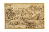 Landscape, in the Foreground Three Men Resting and a Dog Asleep, by a Stream Giclée-tryk af Annibale Carracci