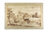 Landscape with a Castle and the Ruins of a Classical Portico Giclée-tryk af Annibale Carracci