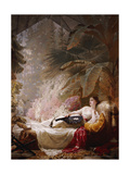 Portrait of Adelaide Maria Guinness, Reclining on a Sofa in a Conservatory, 1885 Giclee Print by George Elgar Hicks