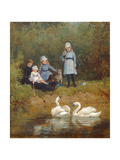 Watching the Swans Giclee Print by Heywood Hardy