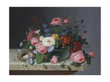Still Life with Flowers and Bird's Nest, after 1860 Giclee Print by Severin Roesen