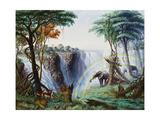 The Mosi-O-A-Tunya (Smoke Resounding) or Victoria Falls, Zambesi River, 1874 Giclee Print by Thomas Baines