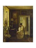 An Interior with a Woman Sewing Gicléetryck av Carl Holsoe