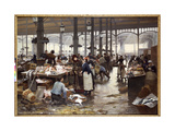 The Fish Hall at the Central Market Giclee Print by Victor Gabriel Gilbert
