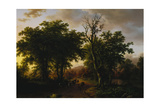 Travellers on a Path at Sunset Giclee-trykk av Barend Cornelis Koekkoek