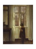 A Girl Standing at a Window Gicléetryck av Carl Holsoe