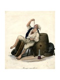 Porter Eating Macaroni, 1840 Giclée-tryk af Gaetano Dura