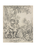 Rustic Courtship Giclee Print by Francois Boucher