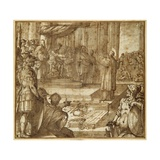 St Lawrence Discourses in the Presence of the Prefect Decius, 1581 Giclée-tryk af Antonio Tempesta