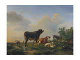 A Bull, a Cow, a Donkey, a Goat, Sheep and Poultry in an Extensive Landscape, 1849 Giclée-Druck von Eugene Joseph Verboeckhoven