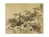 Crustaceans, Edo Period C.1825 Giclée-tryk af Katsushika Hokusai
